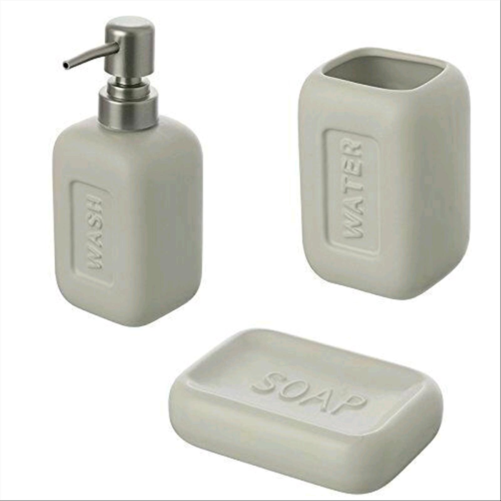 Set Accessori Bagno.Dettagli Su Set Accessori Bagno Bingo Pz 3 Dispenser Porta Sapone Porta Spazzolini
